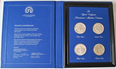 Official California Bicentennial Medallion Collection Sterling Silver 4 Medals