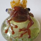 Mazet Studios Art Glass Frog Prince Paperweight Figurine Toad Crown Signed