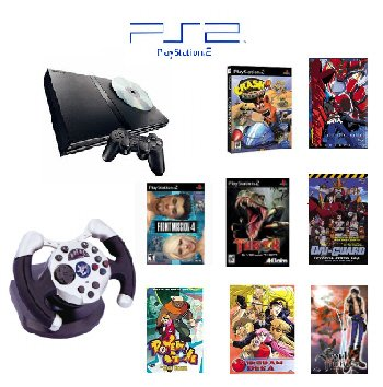 "PS2 Slim Sony Playstation 2 ""Anime Bundle"" - 3 Games, 5 Movies, 1 Wheel and more"