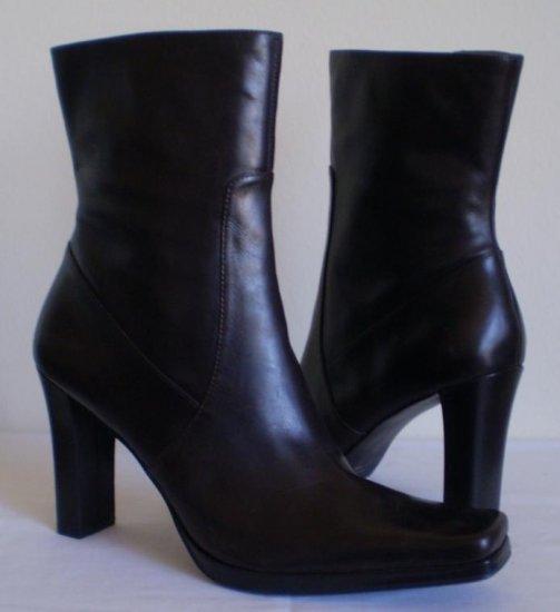 Nine West Pioneer Brown Leather Mid Calf Boots Heels 11
