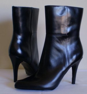 Nine West Lapaz Black Leather Mid Calf Boots Heels 10.5
