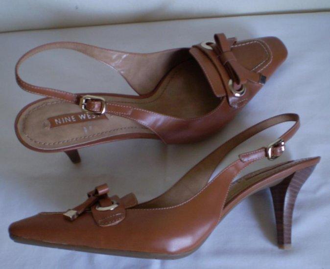 Nine West Brown Leather Sling Back Heels Nw 11