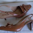 Nine West Brown Leather Sling Back Heels Nw 11