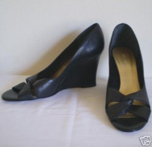 Nine West Black Leather Shoes Wedge Heels Pumps Nw 11
