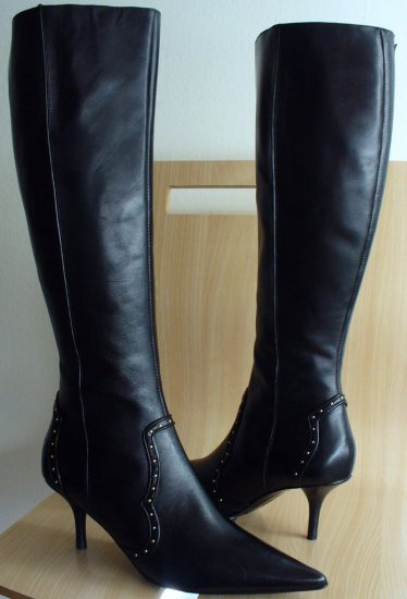 Michael Kors Dallas Black Leather Tall Boots Heels 7