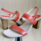 Aerosoles HowdySkies Orange Leather Sandals Heels sz 12