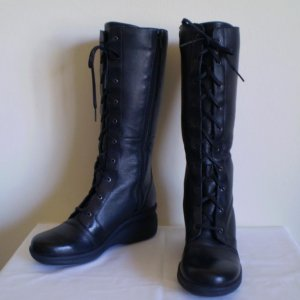 CLARK Black Leather Knee High Tall Lace Boots nw 6