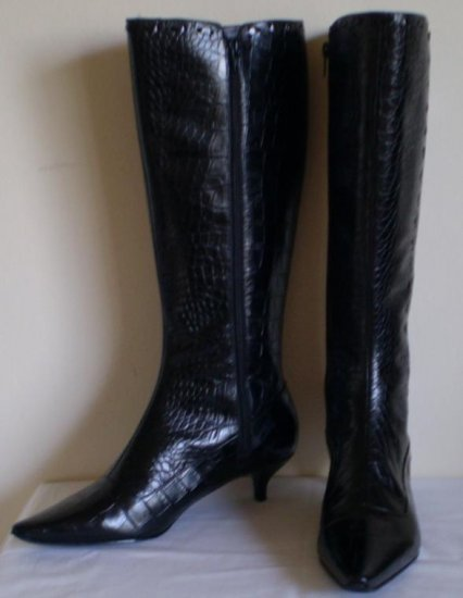 Enzo Angiolini Black Tall Knee High Boots Heels nw 8.5