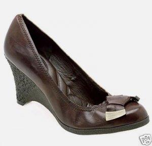 Nine West Brown Leather Wedge Heels Pumps Shoes nw 12