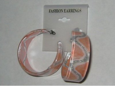 Silvery Stripe Hoop Earrings - Peach