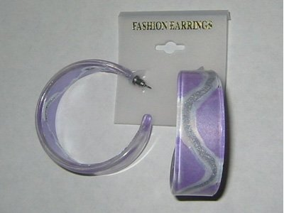 Silvery Stripe Hoop Earrings - Purple