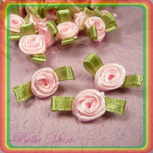 100 Pink Satin Ribbon Rose Flower Applique/Craft/Wedding F002
