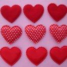 60 mix Heart Felt Fabric Applique-RED