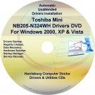 Toshiba Mini NB205-N324WH Drivers Recovery CD/DVD