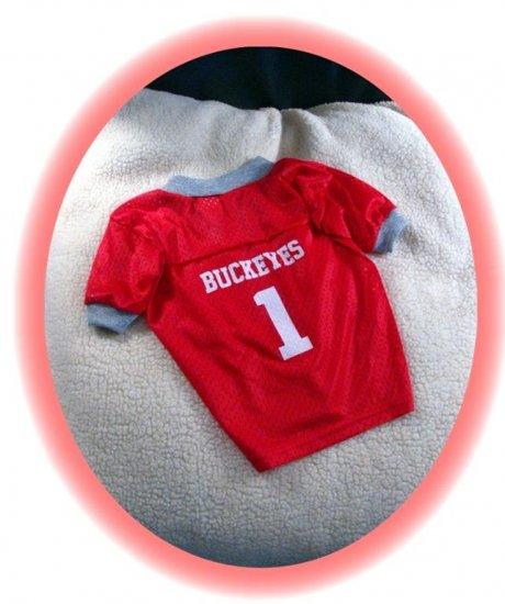 Ohio State University OSU Buckeyes Deluxe NCAA Football Dog Jersey Small Size