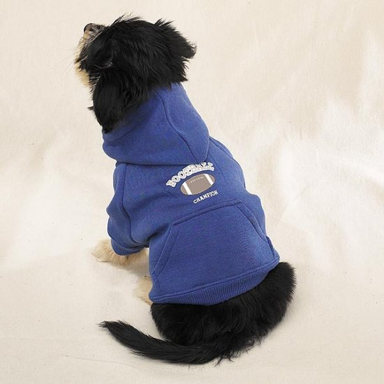 Blue Hooded Dog Football Sweatshirt Pet Apparel Medium Size
