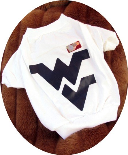 West Virginia University WVU Mountaineers T Shirt Sports Dog Tee Shirt Large Size