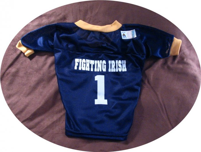 Notre Dame Fighting Irish Deluxe NCAA Sports Logo Dog Football Jersey XL Size
