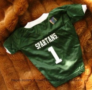 Michigan State Spartans Deluxe NCAA Sports Logo Dog Football Jersey Medium Size