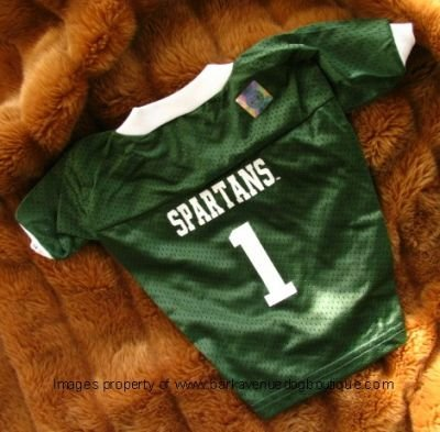 Michigan State Spartans Deluxe NCAA Sports Logo Dog Football Jersey Large Size