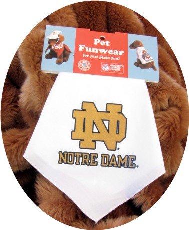 White Notre Dame Fighting Irish Dog Bandana Official NCAA Football Sports Pet Apparel
