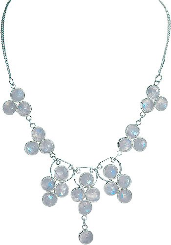 .925 SS 25 Stone Moonstone Necklace 18 to 20 inches