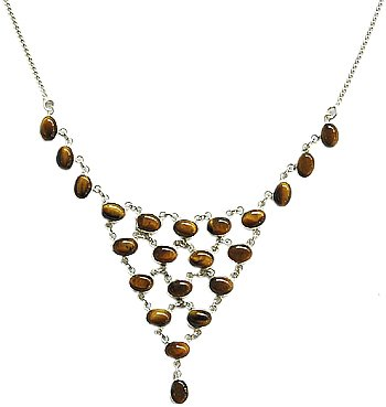 925 SS 22 Stone Tigereye Necklace 18 to 20 inches