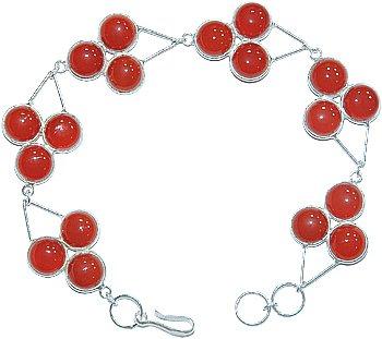 .925 SS 18 Stone Carnelian Triangle Bracelet 7.75 inch