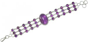 .925 SS Oval Amethyst Linked Bracelet 7.5 inches