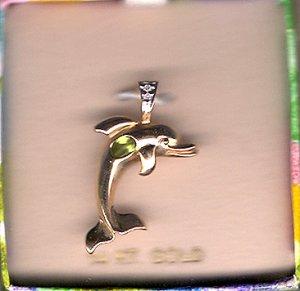 14K Gold Oval Peridot Dolphin Pendant