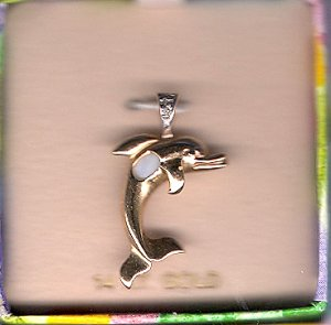 14K Gold Oval Genuine Opal Dolphin Pendant