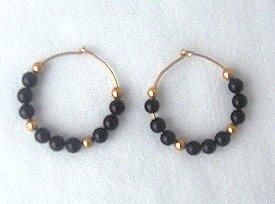 14K GF Black Onyx Hoop Earrings 1 Inch Round