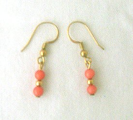 14K GF Genuine Coral Drop Earrings 1 1/4 Long