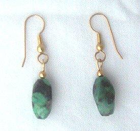 14K GF African Green Turquoise Drop Earrings 1 5/8 L