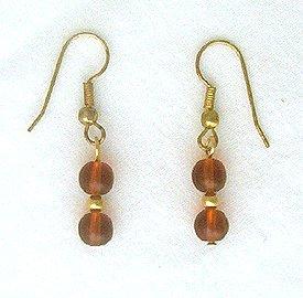 14K GF 6mm Round Amber Drop Earrings - 1 3/8 Long