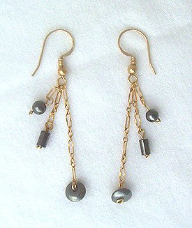 14K GF Hematite Dangle Chain Earrings - 2 1/4 L
