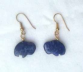 14K GF Lapis Zuni Buffalo Drop Earrings - 1 1/2 Long