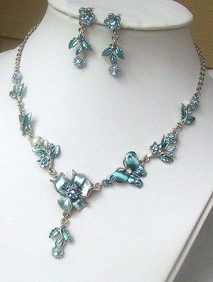 Silver Baby Blue Crystal Butterfly Floral Necklace Set
