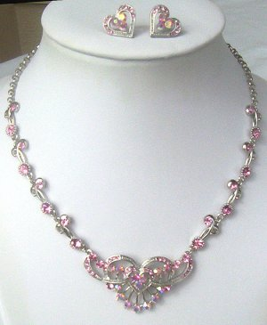 Silver Pink Swarovski AB Crystal Heart Necklace Set