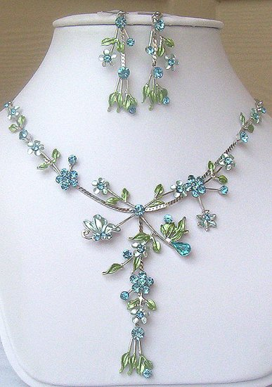 Silver Aqua Austrian Crystal Floral Necklace & Earrings