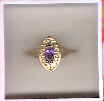 10K Gold Genuine Marquis Amethyst Filigree Ring Sz 6.5
