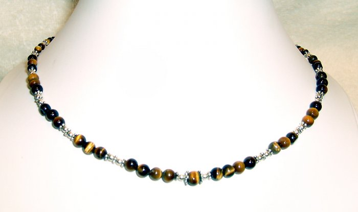 .925 SS Tigereye Graduated Bead Necklace - 18 Inches