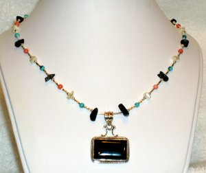 .925 SS Black Onyx Turquoise Coral MOP Necklace 19 inch