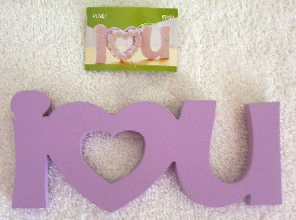 Girls Purple I Love You Wood Sign U Decorate It New!