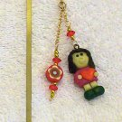 Red /Yellow Girl Polymer Clay Charm w/ Beads Gold Bookmark
