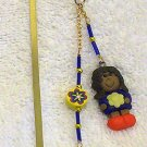 Blue /Yellow Girl Polymer Clay Charm w/ Beads Gold Bookmark
