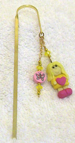 Pink /Yellow Girl Polymer Clay Charm w/ Crystals Bookmark New!