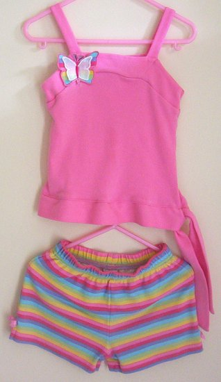 Girls 4T Pink and Rainbow Butterfly Short Set EUC