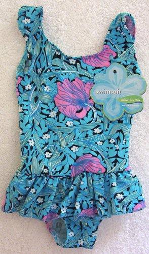 Infant Girl Blue Pink Blk Floral 1 PC Suit 12m 18m NWT