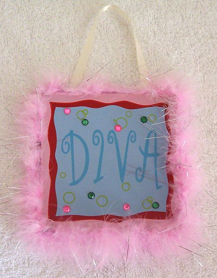 Girls Pink Fur Trim Diva Room Decor Door Sign Brand New!